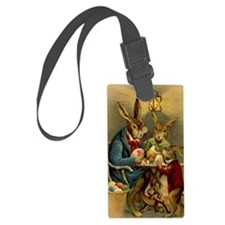 Easter rabbits painting eggs 2 Luggage Tag