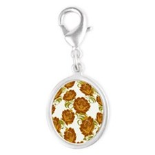 Flower Easter Egg 21B - Silver Oval Charm