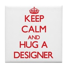 Keep Calm and Hug a Designer Tile Coaster