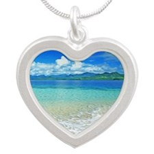 Beach and Sea Silver Heart Necklace