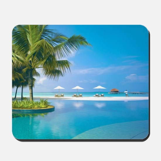 Beach chairs with umbrellas with sunshin Mousepad