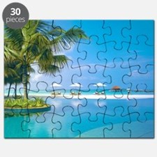 Beach chairs with umbrellas with sunshine Puzzle