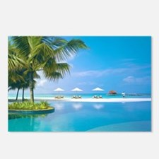 Beach chairs with umbrell Postcards (Package of 8)