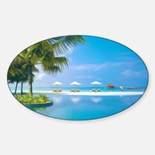Beach chairs with umbrellas with su Sticker (Oval)