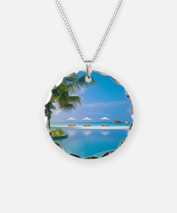 Beach chairs with umbrellas  Necklace
