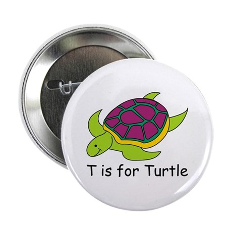 T Is For Turtle 225 Button By Srfboystore