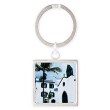 White Church Funchal Portugal Square Keychain