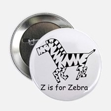 "Z is for Zebra 2.25"" Button"
