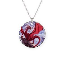 red dragon on a cliff Necklace