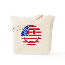 USA flag smiley Tote Bag