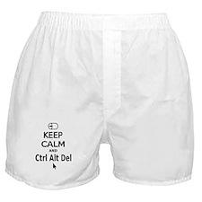 Keep Calm and Control Alt Delete (black) Boxer Sho