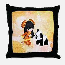 Kawaii China Girl Throw Pillow