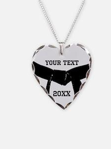 Cute Black belt Necklace Heart Charm