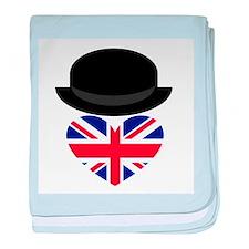 British Bowler Heart baby blanket