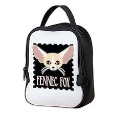Cute Fennec Fox Cartoon Neoprene Lunch Bag