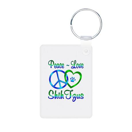 Peace Love Shih Tzus Aluminum Photo Keychain