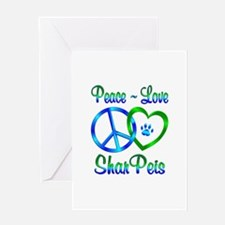 Peace Love Shar Peis Greeting Card
