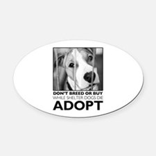 Adopt Puppy Oval Car Magnet