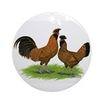 Gold Brabanter Chickens Ornament (Round)