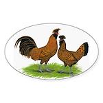 Gold Brabanter Chickens Oval Sticker