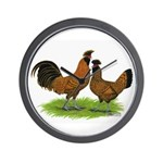 Gold Brabanter Chickens Wall Clock