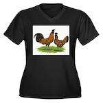 Gold Brabanter Chickens Women's Plus Size V-Neck D