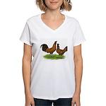 Gold Brabanter Chickens Women's V-Neck T-Shirt