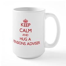 Keep Calm and Hug a Pensions Adviser Mugs