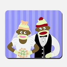 Sock Monkey Marriage Wedding Mousepad