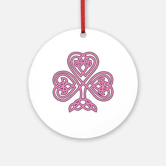 Pink Celtic Shamrock Ornament (Round)