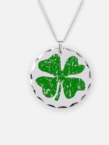 Green Shamrock St Patricks Day Necklace