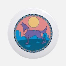 Colorful Howling Coyote Design Ornament (Round)
