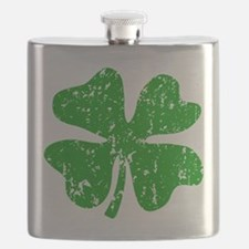 Green Shamrock St Patricks Day Flask
