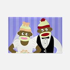 Sock Monkey Marriage Wedding Rectangle Magnet