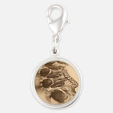Skull Art Silver Round Charm