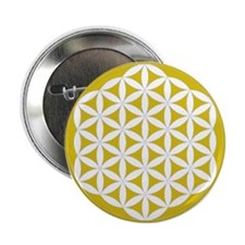 """Flower of Life Gold 2.25"""" Button"""