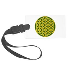 Flower of Life Green Gold Luggage Tag