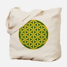 Flower of Life Green Gold Tote Bag