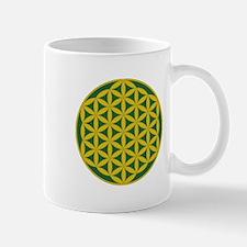 Flower of Life Green Gold Mug