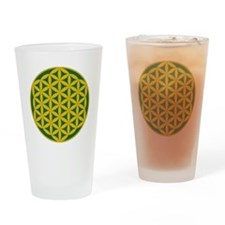 Flower of Life Green Gold Drinking Glass