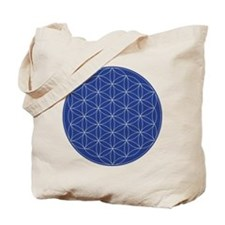 Flower of Life Blue Silver Tote Bag