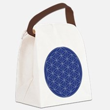 Flower of Life Blue Silver Canvas Lunch Bag