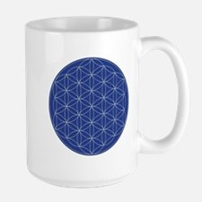 Flower of Life Blue Silver Large Mug