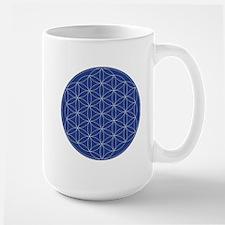 Flower of Life Blue Silver Mug