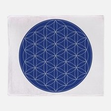 Flower of Life Blue Silver Throw Blanket