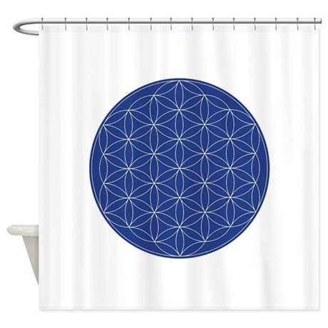 Flower Of Life Blue Silver Shower Curtain By AngelsMadeSimple