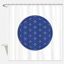 Flower of Life Blue Silver Shower Curtain