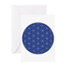 Flower of Life Blue Silver Greeting Card