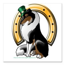 "Irish Rough Collie TriColor Square Car Magnet 3"" x"