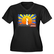Samurai Jack Women's Plus Size V-Neck Dark T-Shirt